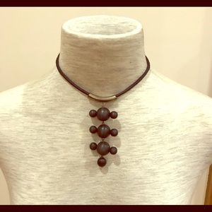 Jewelry - Black wood bead and silver pendant necklace.